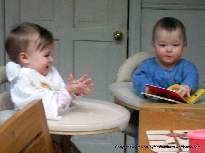 twins, twin babies, baby clapping, baby reading